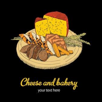 Modello di formaggio e panetteria con piatto di cibo