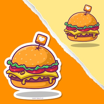 チーズバーガーの漫画、ステッカーフードのデザイン。