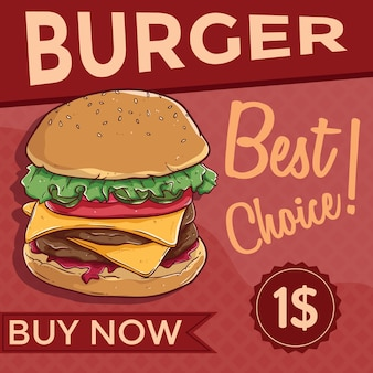 Cheese burger or fast food banner