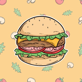Cheese burger with colored hand drawn style on vegetable pattern