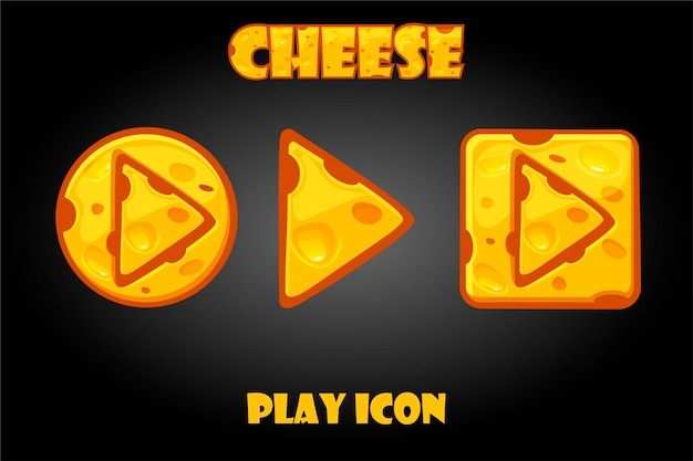 Cheese buttons play for the game. set of isolated funny icons for graphical user interface.