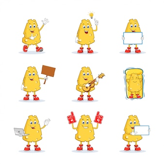 Cheese cartoon mascot character set collection