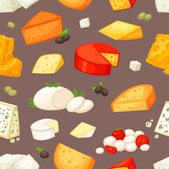 スイスの前菜モッツァレラチーズまたはチェダーの朝食のシームレスなパターンの背景のチーズペアリングイラストセットとチーズのチーズ料理と乳製品