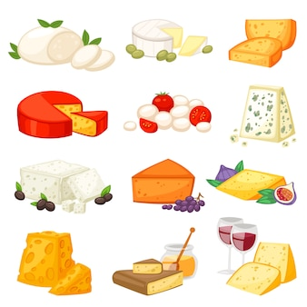 Cheese  cheesy food and dairy products with cheeseparing illustration set of swiss appetizer mozzarella or cheddar for breakfast