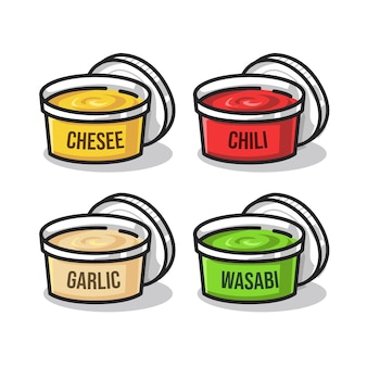 Cheese chili garlic and wasabi sauce in cute line art illustration