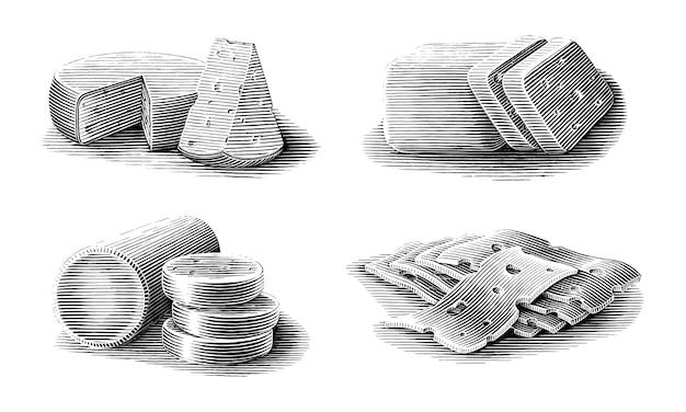 치즈 컬렉션 손으로 그린 빈티지 조각 스타일 흑백 클립 아트 흰색 배경에 고립