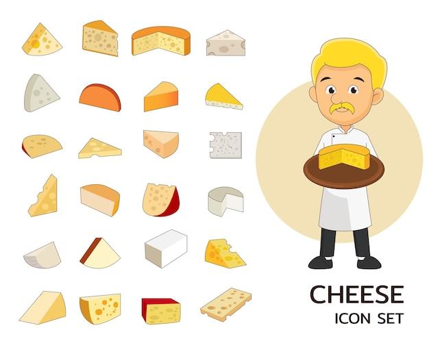Плоские значки концепции сыра.