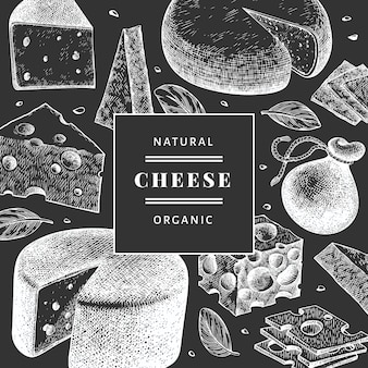 Cheese design. hand drawn dairy illustration on chalk board. engraved style different cheese kind