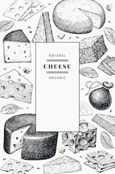 Cheese design. hand drawn dairy illustration. engraved style different cheese kind. vintage food background.