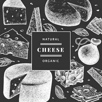 チーズのデザイン。手は、チョークボードに乳製品のイラストを描いた。刻印風チーズの種類