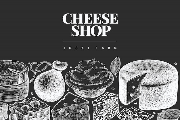 Cheese design template. hand drawn   dairy illustration on chalk board. engraved style different cheese kinds banner. vintage food background.