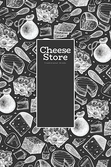 Cheese design template. hand drawn  dairy illustration on chalk board. engraved style different cheese kinds . vintage food background.