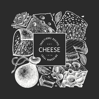 Cheese design template. hand drawn dairy illustration on chalk board.