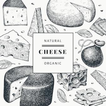 チーズのデザインテンプレート。手描きの乳製品のイラスト。刻まれたスタイルの異なるチーズの種類のバナー。ビンテージ食品の背景。
