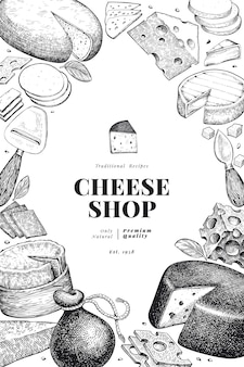 Cheese design template. hand drawn   dairy illustration. engraved style different cheese kinds banner. vintage food background.