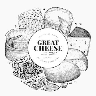 チーズのデザインテンプレート。手描きの乳製品のイラスト。ヴィンテージ料理の背景。