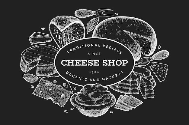 Cheese design template. hand drawn vector dairy illustration on chalk board.