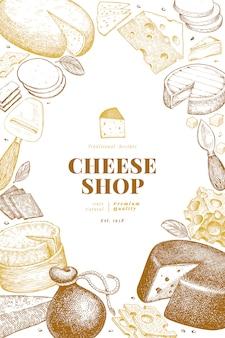 Шаблон оформления сыр. рисованной векторные иллюстрации молочные. гравированный стиль различных видов сыра баннер. ретро еда фон.