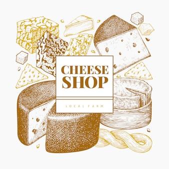 チーズのデザインテンプレートです。手描きのベクトル乳製品イラスト。刻まれたスタイルのさまざまなチーズの種類のバナー。レトロな食品の背景。