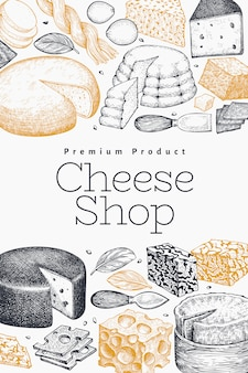 チーズのデザインテンプレートです。手描きのベクトル乳製品イラスト。刻まれたスタイルのさまざまなチーズの種類のバナー。ヴィンテージ食品の背景。