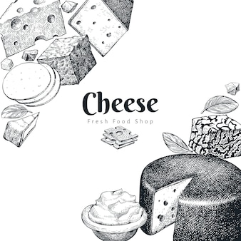 Cheese design template. hand drawn vector dairy illustration. engraved style different cheese kinds.