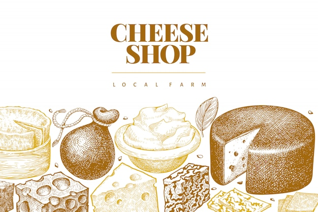 Cheese design template. hand drawn vector dairy illustration.