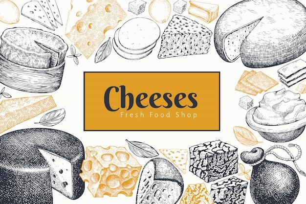 Шаблон оформления сыр. рисованной векторные иллюстрации молочные.