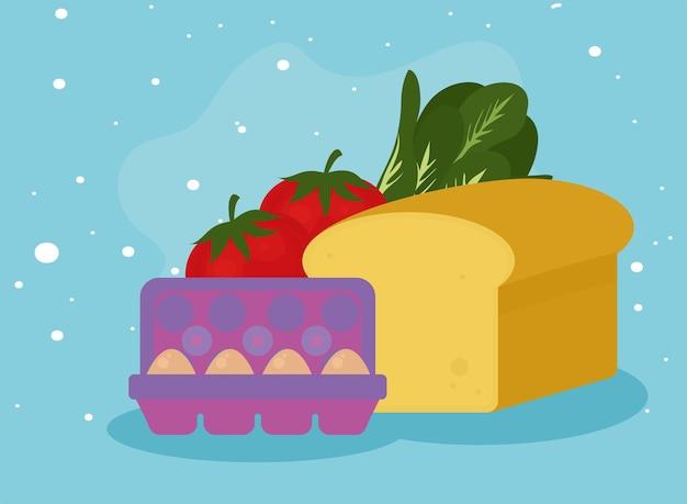 青い背景の上のチーズの卵と食べ物のアイコン