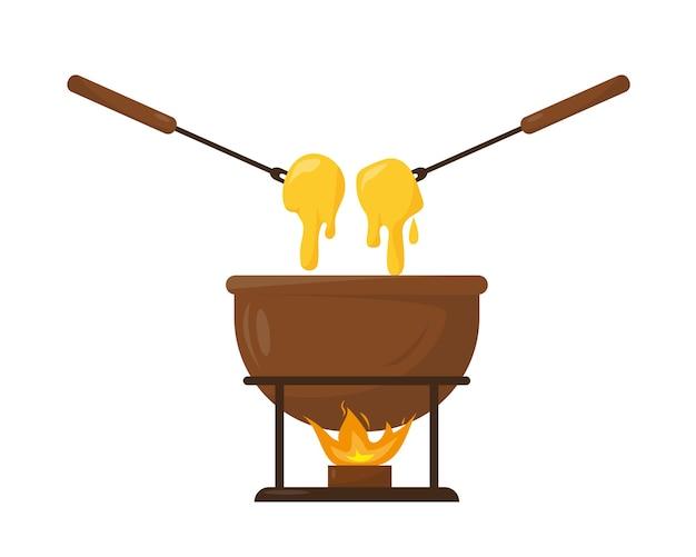 Сырное фондю в керамической миске с огнем.