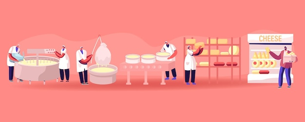 Cheese food production factory. commercial characters make dairy machinery process in metal tank. cartoon flat illustration
