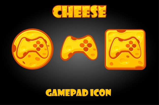 Cheese gamepad buttons for the graphical game menu. set of icons with a joystick for the gui.