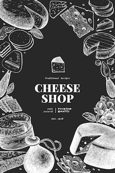Cheese  . hand drawn  dairy illustration on chalk board. engraved style different cheese kinds . vintage food background.