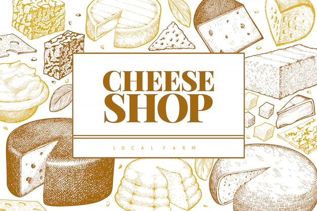 Cheese  . hand drawn  dairy illustration. engraved style different cheese kinds . retro food background.
