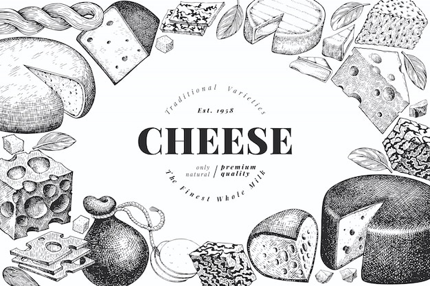 Cheese. hand drawn vector dairy illustration.