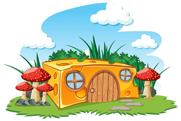 Cheese house with mushroom and in the garden cartoon style on sky background