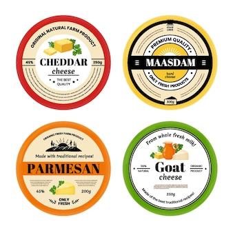 치즈 라벨. 유제품, 다양한 유형의 치즈에 대한 브랜딩이 있는 패키지 전면 모형. 벡터 일러스트 레이 션 포장 레이블 격리 세트