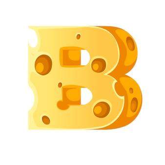 Сыр буква b стиль мультфильм еда дизайн плоские векторные иллюстрации, изолированные на белом фоне.