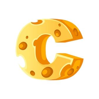 Сыр буква c стиль мультфильм еда дизайн плоские векторные иллюстрации, изолированные на белом фоне.