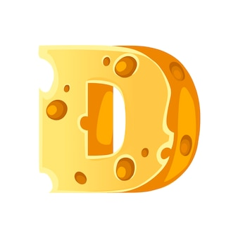 Cheese letter d style cartoon food design flat vector illustration isolated on white background.