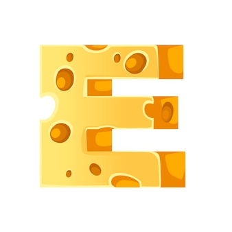 Cheese letter e style cartoon food design flat vector illustration isolated on white background.