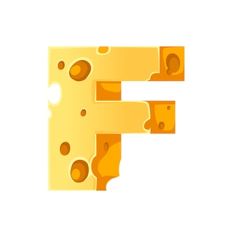 Cheese letter f style cartoon food design flat vector illustration isolated on white background.