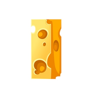 Cheese letter i style cartoon food design flat vector illustration isolated on white background.