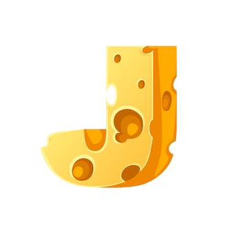 Cheese letter j style cartoon food design flat vector illustration isolated on white background.