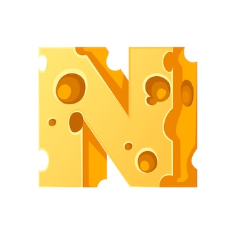 Cheese letter n style cartoon food design flat vector illustration isolated on white background.