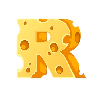 Cheese letter r style cartoon food design flat vector illustration isolated on white background.
