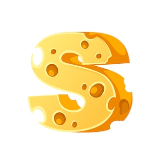 Cheese letter s style cartoon food design flat vector illustration isolated on white background.