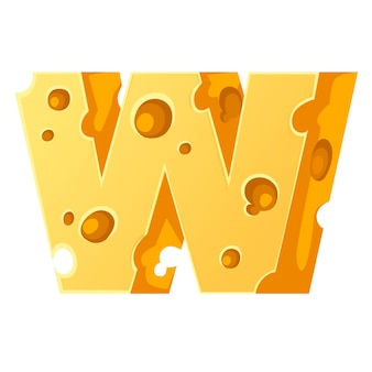 Cheese letter w style cartoon food design flat vector illustration isolated on white background.