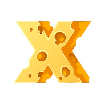 Cheese letter x style cartoon food design flat vector illustration isolated on white background.