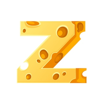Cheese letter z style cartoon food design flat vector illustration isolated on white background.
