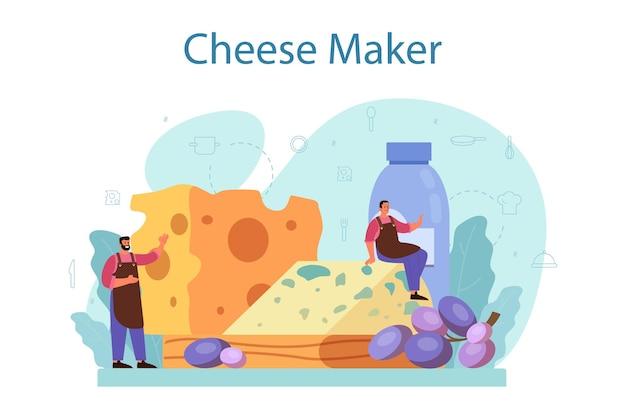 치즈 메이커 개념. 치즈 블록을 만드는 전문 요리사. 치즈 슬라이스를 들고 전문 유니폼 쿠커. 치즈 생산. 격리 된 벡터 일러스트 레이 션